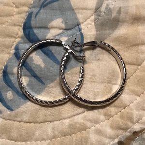 Silver costume hoop earrings